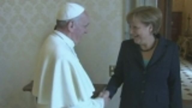 News video: Germany's Merkel visits Pope, urges tougher market control